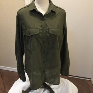 Old Navy olive green cotton long sleeve blouse